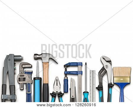 Various carpentry, repairing, DIY tools on white background poster