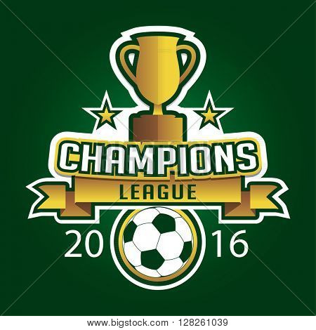 Champion soccer league logo emblem badge graphic with trophy background