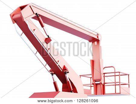 Cherry picker work bucket platform and hydraulic construction. 3d rendering.