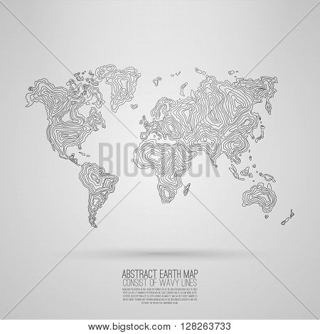 Vector y foto abstract world map prueba gratis bigstock abstract world map consist of wavy lines vector earth map decorative continents gumiabroncs Choice Image
