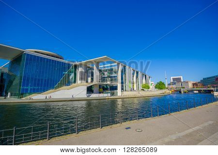 BERLIN, GERMANY - JUNE 06, 2015: Fantastic blue sky in Berlin, Marie Elisabeth Lueders house on the back, actually parliament library.