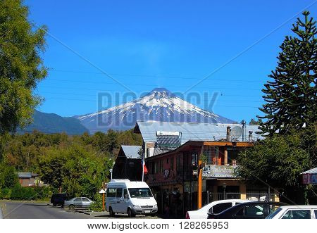 PUCON, CHILE - MARCH, 20, 2016: View onto the volcano Villarrica on March, 20, 2016 in Pucón in Chile, South America