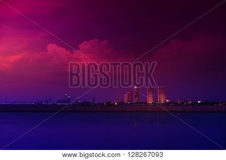 Colorful clouds and sky in Pattaya Thailand Cityscape in Pattaya with wonderful sky