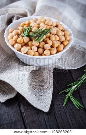 Chickpeas In Bowl With Rosemary, Top View