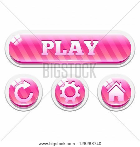 Set of pink striped glassy vector buttons. Menu elements for web or game design. Interface elements Isolated on white background