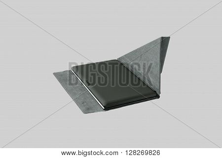 Tablet PC and keyboard. Isolated on a gray background.