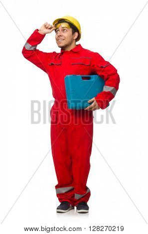 Man in coveralls isolated on white