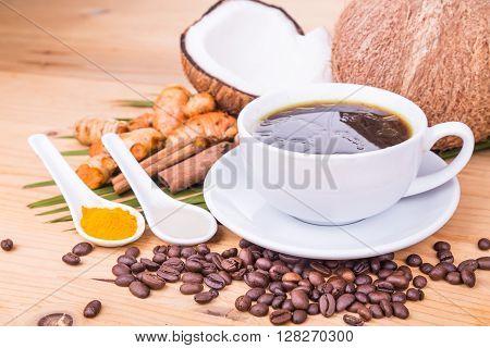 Bulletproof Coffee Blended With Virgin Coconut Oil, Turmeric, Clove, Herbs