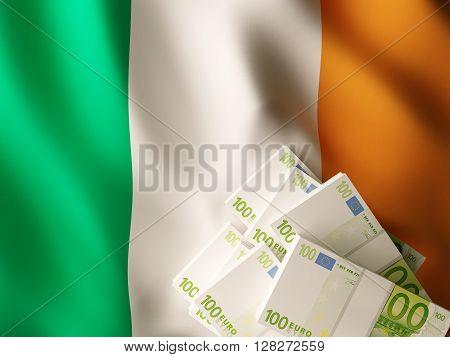 Euro banknote bundles on textile textured Ireland flag.3d rendering.