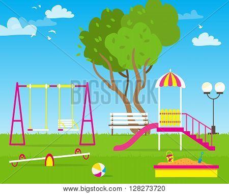 Colorful Children's playground with Swings slide sandbox bench teeter board. Kids playground. School Children's park. Buildings for city construction. Kindergarten Vector flat design illustration