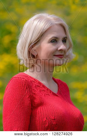 Blonde in a red sweater is photographed on a background of flowering dandelions