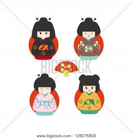 Set of four cute japanese kokeshi dolls icon