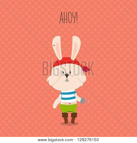 Cute pirate rabbit with hook greeting card. Ahoy. Vector design for kids.