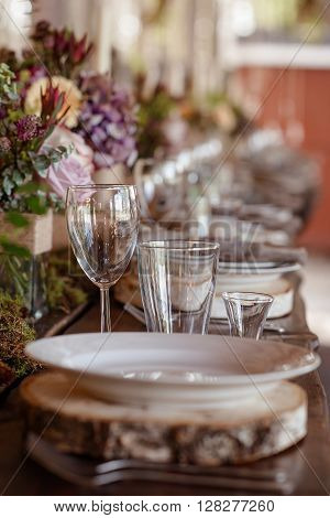 beautifully decorated wedding table in rustic style ** Note: Visible grain at 100%, best at smaller sizes