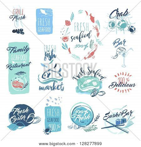 Set of hand drawn watercolor badges and stickers of seafood. Vector illustrations for menu, food and drink, restaurant and fish market.