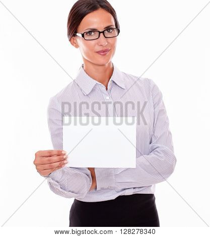 Impassive Brunette Businesswoman With A Signboard