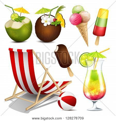 Vector collection of summer elements isolated on white background