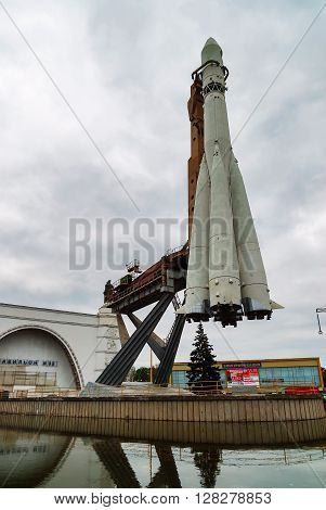 Moscow, Russia - September 18, 2008: Model of Vostok rocket at VDNKh