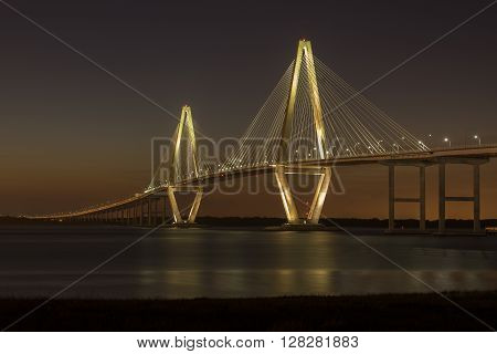 On a beautiful Spring evening, shortly after the sun had set, the Arthur Ravenel Jr. Bridge stands out against the soft colors of the twilight sky.