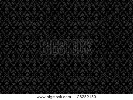 Black casino gambling poker background or dark  damask pattern and cards symbols