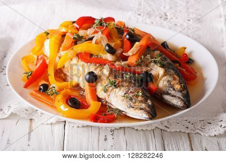 Latin American Food: Escabeche Of Mackerel Fish With Vegetables