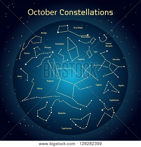 Vector illustration of the constellations of the night sky in October. Glowing a dark blue circle with stars in space Design elements relating to astronomy and astrology