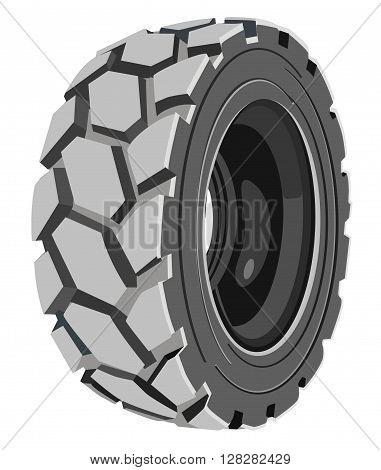 Grey lorry wheel. Trucks grey tire. Transport's tire.