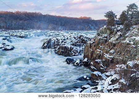 The Potomac River tumbles down a series of cascades through a mile long gorge near Washington DC.