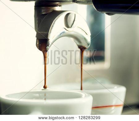 Espresso Machine Making A Cup Of Coffee.