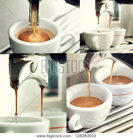 Collage Of An Espresso Machine Making A Cup Of Coffee.