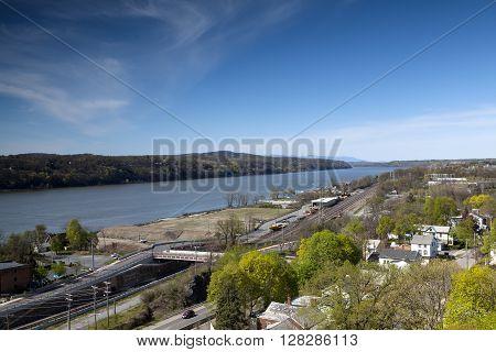 The railroads tracks along the Hudson River