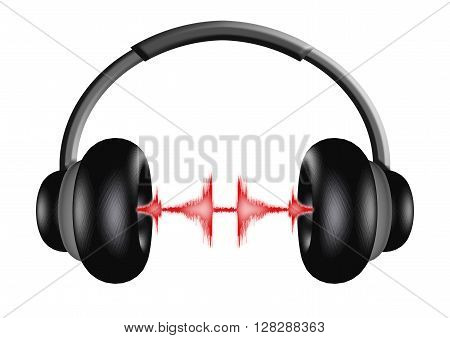 3D illustration of a pair of headphones with sound wave effects