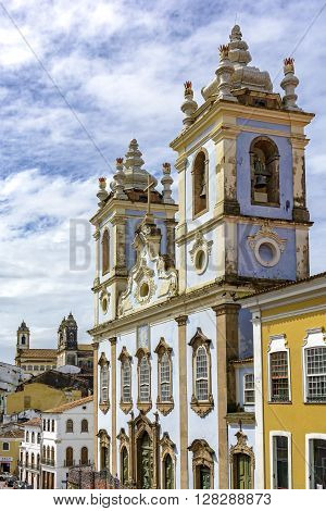 Facade of the Church of Our Lady of the Rosary of the Blacks Liners in the Pelourinho in Salvador. We had the beginning of its construction in 1704 and remains attached a cemetery of slaves.