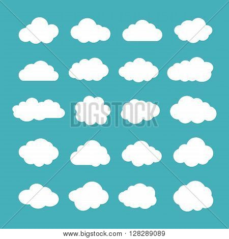 Clouds. Cloud shapes flat icons set. Cloud symbols. Clouds isolated on blue background. Collection of cloud pictograms. Vector icons of clouds flat style. Cloud silhouettes. EPS8 vector illustration.