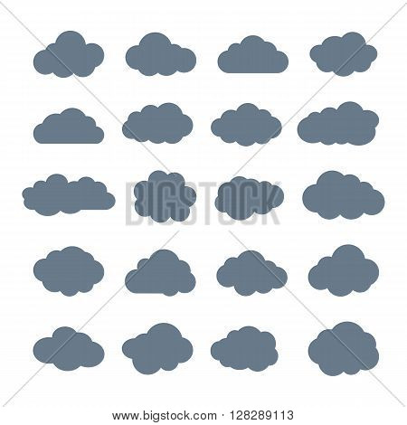 Clouds. Cloud shapes flat icons set. Cloud symbols. Clouds isolated on white background. Collection of cloud pictograms. Vector icons of clouds flat style. Cloud silhouettes. EPS8 vector illustration.