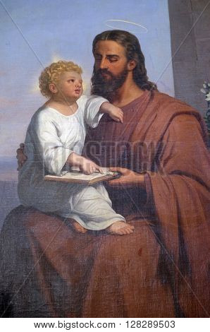 VUGROVEC, CROATIA - OCTOBER 02: Saint Joseph holding child Jesus altarpiece in the Parish Church of Saint Francis Xavier in Vugrovec, Croatia on October 02, 2015