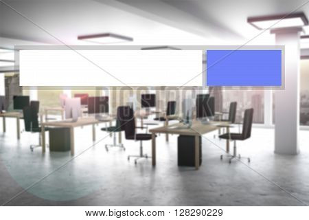 blue modern web search button office appartment 3d illustration