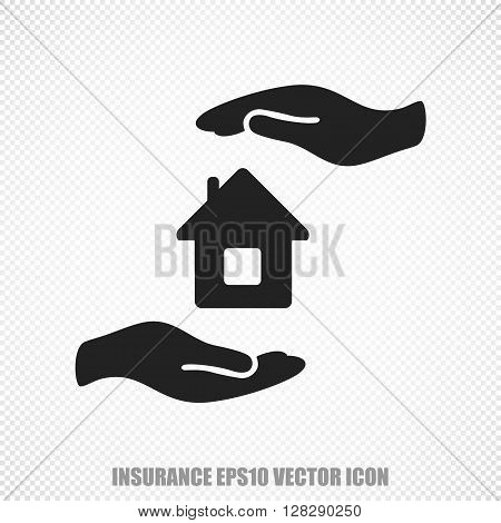 The universal vector icon on the Insurance theme: Black House And Palm. Modern flat design. For mobile and web design. EPS 10.