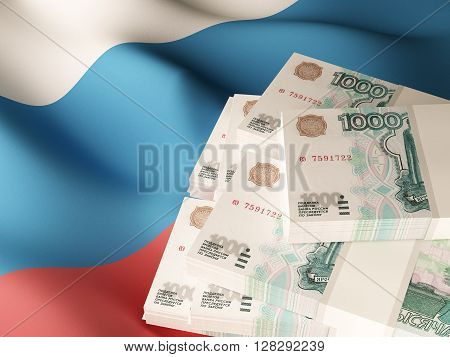 Russian roubles banknote bundles on textile textured Russia flag. 3d rendering.