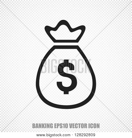 The universal vector icon on the currency theme: Black Money Bag. Modern flat design. For mobile and web design. EPS 10.
