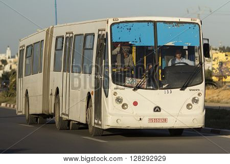 TUNIS, TUNISIA - MAY 22, 2015 : The iconic public bus in the Tunis. Tunisia, May 22, 2015