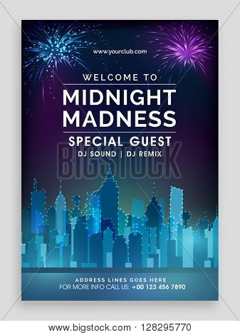 Musical Party Template, Dance Party Flyer, Night Party Banner or Club Invitation design with view or a urban city on fireworks decorated background.