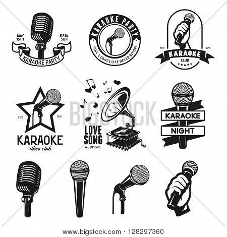 Set of karaoke related vintage labels, badges and design elements. Karaoke club emblems. Microphones isolated on white background. Vector illustration.