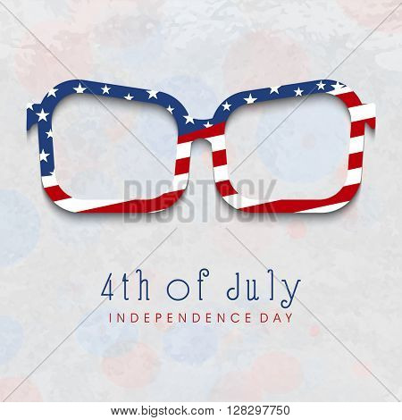 Creative Eye Glasses in American Flag colors on grungy grey background for 4th of July, Independence Day celebration.