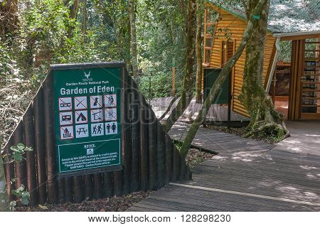GARDEN OF EDEN SOUTH AFRICA - MARCH 3 2016: The entrance to the Garden Of Eden a network of boardwalk trails through the Tsitsikama Forest