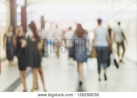 abstract blur people background, Shopping mall blur background, retro City commuters with rush Hour blurred image background.