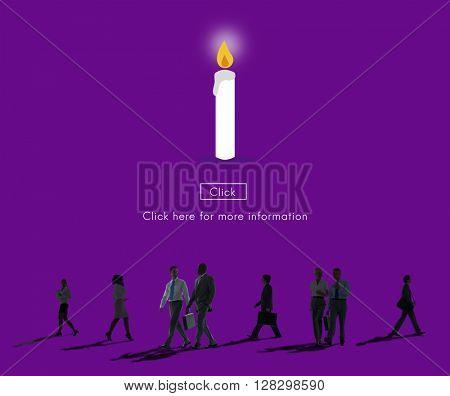Candle Light Flame Faith Icon Concept