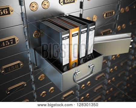 Ring binders on a safe deposit box. Confidential information concept. 3d illustration