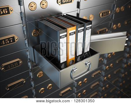 Ring binders on a safe deposit box. Confidential information concept. 3d illustration poster
