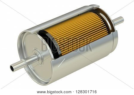 Fuel Filter cutaway 3D rendering isolated on white background